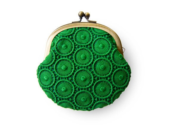 Forest Green Circle Lace Purse