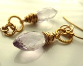 Pink Amethyst Earrings February Birthstone Gold Fill Vermeil French Paris Lilac Rose of France - 'Selene'