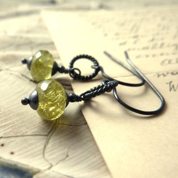 Grossular Garnet Earrings Oxidized Sterling Silver Sage Olive Green January Birthstone Winter Fashion - 'Olivine'