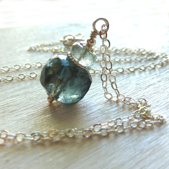 Moss Aquamarine Necklace Handmade March Birthstone Sterling Silver Sea Water Green Pisces - 'Rilla'