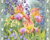 Jubilee Iris and Blue Flax Floral Giclee Fine Art Print, Orange Yellow Green Lavender, Signed Elizabeth Ruffing, on 8.5 x 11 inch art paper