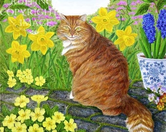 Ginger Orange Tabby Cat Giclee Fine Art Print with Yellow Primroses and Daffodils, Signed Elizabeth Ruffing, on 8.5 x 11 inch art paper