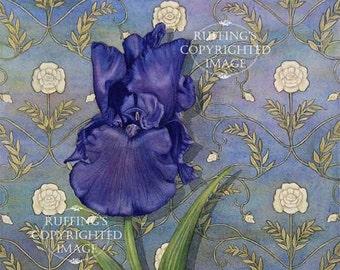 Purple Iris on Blue , Art Nouveau, Wallpaper Pattern Giclee Fine Art Print, Signed Elizabeth Ruffing, on 8.5 x 11 inch art paper