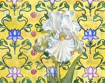 White Iris on Yellow Floral, Art Nouveau Wallpaper Pattern Giclee Fine Art Print, Signed Elizabeth Ruffing, on 8.5 x 11 inch art paper