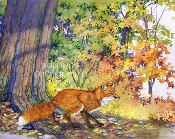 Red Fox in the Autumn Woods Giclee Fine Art Print, Green, Yellow, Gold, Rust, Blue, Signed A E Ruffing, on 8.5 x 11 inch art paper
