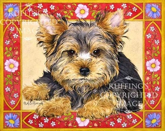 Yorkie Puppy Yorkshire Terrier Giclee Fine Art Dog Print, Red, Gold, Signed A E Ruffing on 8.5 x 11 inch art paper