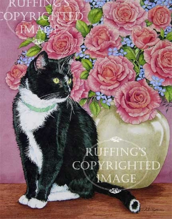Tuxedo and Roses, Black and White Cat Giclee Fine Art Print, Floral, Signed A E Ruffing, on 8.5 x 11 inch art paper