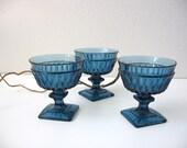 vintage glass goblet cobalt blue party tableware set of three