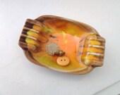 ashtray orange brown yellow small mad men vintage - lillysshoppe