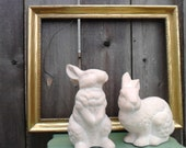 bunny rabbit pair shabby cottage home decor vintage