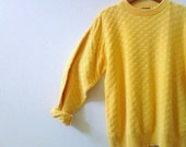 sweater mens yellow fishermans woven pullover cotton made in USA vintage