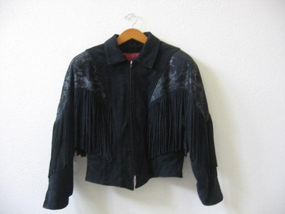 Jacket Coat Black Suede Leather Cropped Fringe Padded Shoulders Hipster Motorcycle Vintage Jacket
