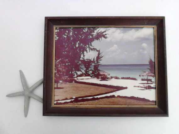 Framed Picture Art Beach Tropics Resort  Scene Vintage