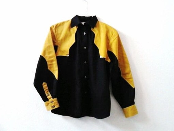 Vintage Shirt Blouse Western Mustard Yellow Black Small