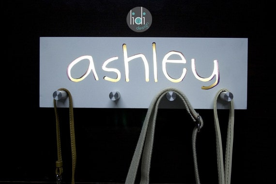 Hand bag/Key Hanger with Personalized Name Night Light