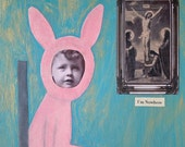 Mixed Media Collage Print, Turquoise and Pink Art, I'm Nowhere, Unusual Easter Decor, Pink Bunny Rabbit