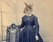 Victorian Rabbit Art Print, Animal Art, Easter Art, Blue and Tan Altered Antique Photography, Bunny Art Collage, Affordable Art