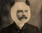 Panda Bear Hat Art Print, Timothy, Altered Antique Photograph of a Young Handsome Man with a Mustache, frighten