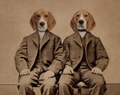 Beagle Dog Art, Mixed Media Collage Print, Beagle Boys, Altered Antique Family Portrait of Two Twin Brothers, frighten