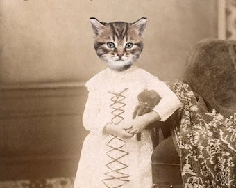 Tabby Cat Art, Antique Photography, Anthropomorphic Art, Cat in Clothes, Mixed Media Collage, 8x10 Print