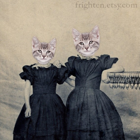 Cat Art,  Kitten Girls, Altered Antique Portrait of Two Sisters, 5x7 Print