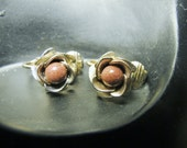 1950's Gold Tone Rose Clip Earrings with Goldstone