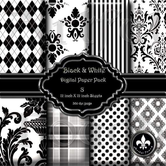 """Black & White No. 02 - 8 Digital Printable Paper Pack - 12"""" X 12"""" - 300 DPI for Scrapbooking, Card Making, Stationary, Invitations and All Paper Crafts"""