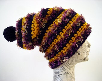 Striped crochet long hat, crochet slouchy hat, yellow burgundy hat, striped slouchy hat, pom pom hat, winter hats.