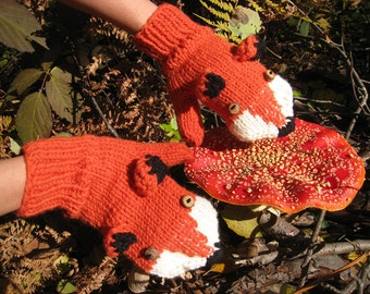Hand knit fox mittens gloves in red orange with wood buttons