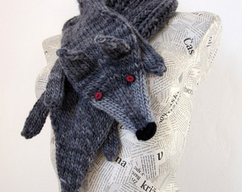 Hand knit wolf scarf in grey black with polymer clay buttons