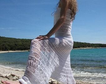Crochet harem pants overall in white cotton