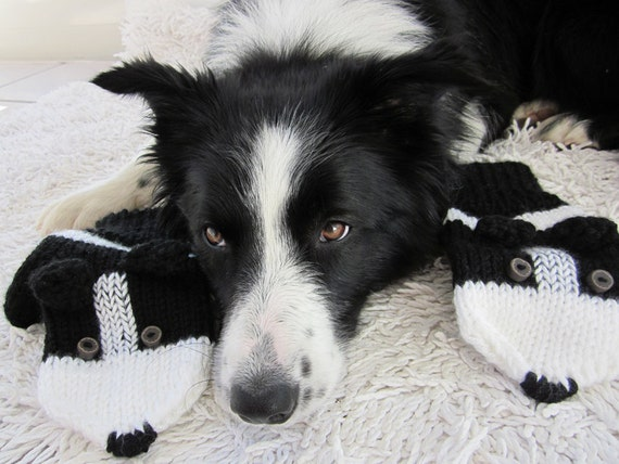 Border Collie mittens gloves, black and white gloves, animals gloves, dogs mittens, funny gloves