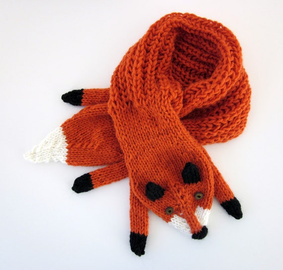 Hand knit fox scarf in red orange with polymer clay buttons
