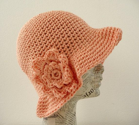 Flower crochet spring summer hat in salmon