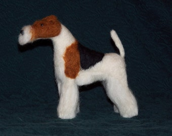 Needle Felted Wire Fox Terrier dog example custom made to order