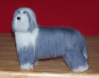 Bearded Collie example custom made to order needle felted dog