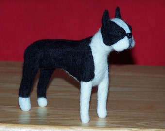 Boston Terrier needle felted dog example custom made to order