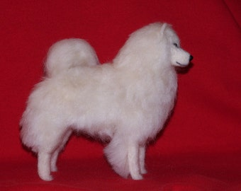 Samoyed needle felted dog example custom made to order