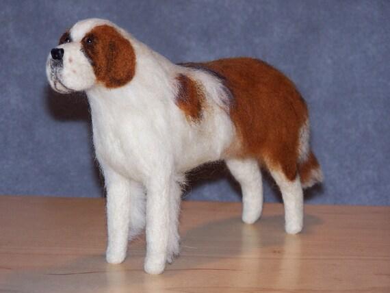 Saint Bernard needle felted dog example custom made to order