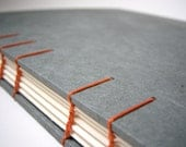 Slate Gray Sketch Book / Guest Book - Coptic Stitch Binding, Gray and Orange, Hand Bound Book, Made to Order