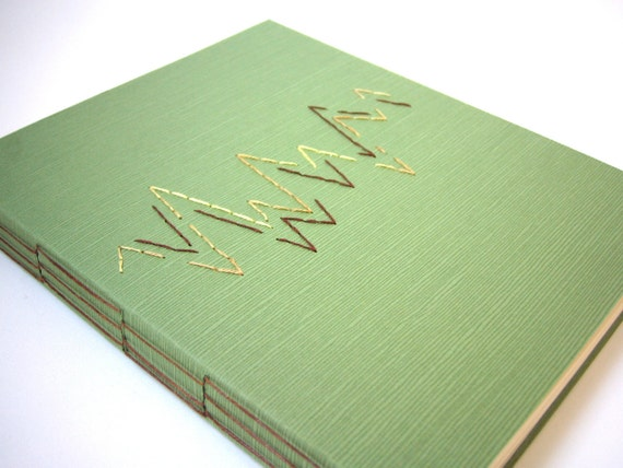 Green Journal with Long Stitch Binding, Embroidery, Hand Bound Book, Handmade Book