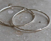 Hammered Small Silver Hoops Sterling Silver Earrings One Inch, Simple
