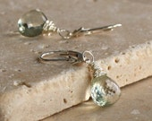 Green Amethyst, Prasiolite Lever Back Earrings, Sterling Silver, Clip On Available