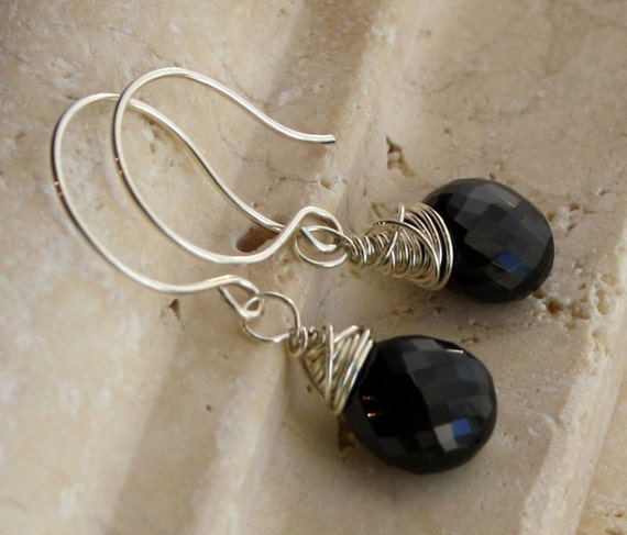 AAA Gemstone Jewelry Black Spinel and Sterling Silver Earrings, Clip-on Available