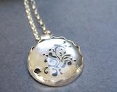 OOAK Sterling Silver Pendant, Crystal Round pendant,