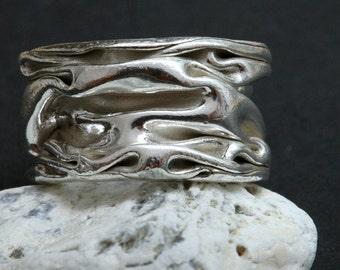 Fine Silver Wrinkled Ring