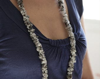 OOAK - Moon Stone and Black Rutile Quartz Bead Necklace