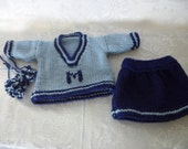 Handknit Cheering Outfit for American Girl and other 18 inch dolls