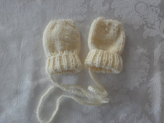 Handknit Ivory Thumbless Baby Mittens Size 0 to 6 months 6 to 12 Months or 12 to 18 months