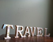 TRAVEL Wooden Letters with Upcycled Vintage Nat Geo Map